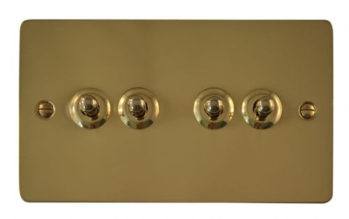 G&H FB284 Flat Plate Polished Brass 4 Gang 1 or 2 Way Toggle Light Switch